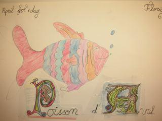 Poisson avec lettres enluminées. Florian ( 6ème1)